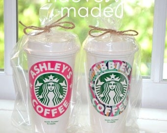 PAIR of Personalized Starbucks Cups | Set One SOLID + One LILLY Pulitzer Vinyl | Reusable Cup | Gift Birthday College Teen Tween Teacher