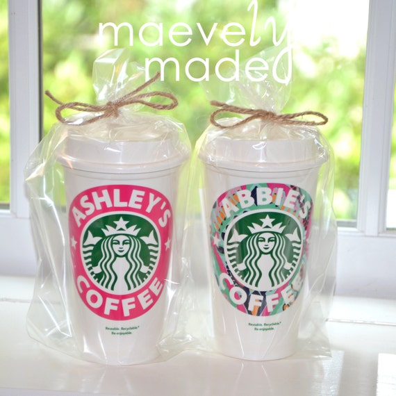 Items Similar To Pair Of Personalized Starbucks Cups Set