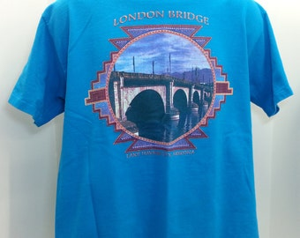 Vintage 90's London Bridge Lake Havasu Arizona Graphic T Shirt Mens Large