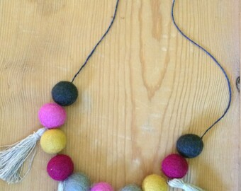Wool Felt Ball and Tassel Necklace- Indigo