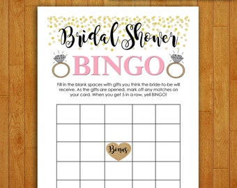 Bridal Shower Game Download - Bridal Shower BINGO - Coral and Gold - Instant Printable Digital Download - diy Bridal Shower Printables