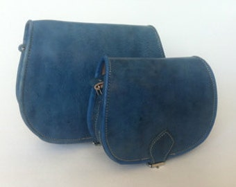 Moroccan Handcrafted Blue leather Saddle Bag, cross-body messenger bag