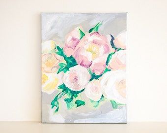 Grey Pink Green Flower Acrylic Painting