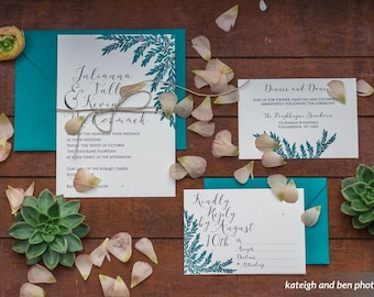 Watercolor Leaf Invitation Set (#4): **SAMPLE**