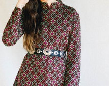 VINTAGE Psychedelic long sleeved retro tile style mini dress 70s 60s hot dress hippy groovy boho bohemian seventies babe foxy dress