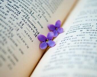 Purple lilac flower earrings studs Purple earrings Bridesmaid earrings Bridesmaid gift Syringa flower jewellery Stud earrings Small earrings
