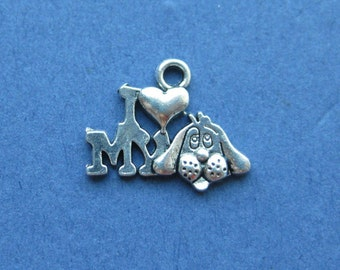 10 I Love My Dog Charms - I Love My Dog Pendant - Animal Charm - Animal Pendant - Dog Charm - Antique Silver - 14mm x 18mm -- (K3-10688)