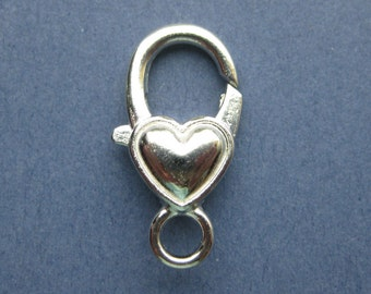 5 Heart Lobster Clasps - Silver Tone Lobster Clasps - 27mm x 14mm  -- (No.110-10555)