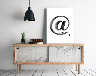 "At @ Sign Mark Modern Typography Print, Black Ink Art, Minimalist Scandinavian Design 24 x 36"" + 70x100 cm, Watercolor Letters and Symbols"