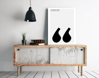 Quotation Mark Print, Modern Typography - Scandinavian / Nordic Interior Design Letter Symbol Art - Minimalist Black and White Poster