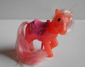 Reduced! Vintage My Little Pony Sun Spot Sparkle Pony, MLP G1, Orange Glitter, Pale Pink Hair with Gold Tinsel, Saddle Included, Epsteam