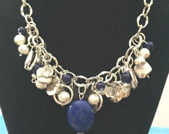 Handmade blue statement necklace