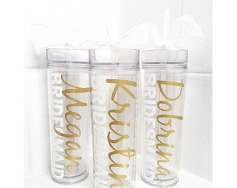 4 Custom skinny tumblers, bridal set, personalized cups, bridal shower gift, wedding gift, wedding favors, bridesmaids gift, plastic cups