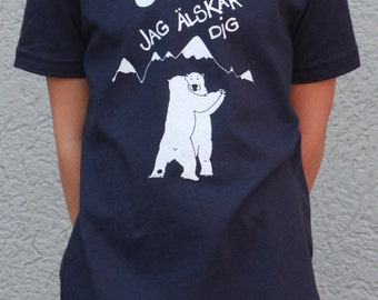 Kids Jag Alskar dig I Love you in Swedish Polar bear shirts Navy and Red American Apparel Screen Printed by Hand