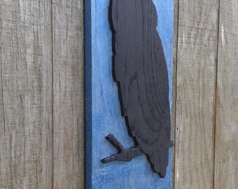 Owl silhouette relief carving hand painted