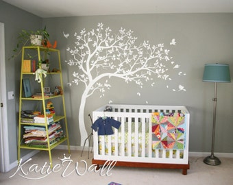 white tree wall decals nursery large wall decal kids room wall art decor wall mural sticker - Wall Art Design Decals