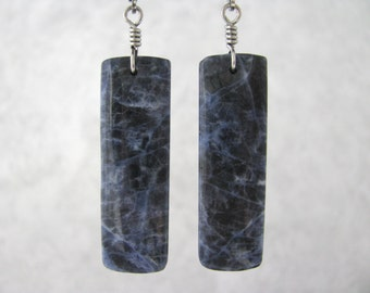 Medium Length, Dark Blue Sodalite Stone Rectangle Slab, Titanium Wire Wrapped Earrings, Hypoallergenic Stainless Steel Lever Back Ear Wire