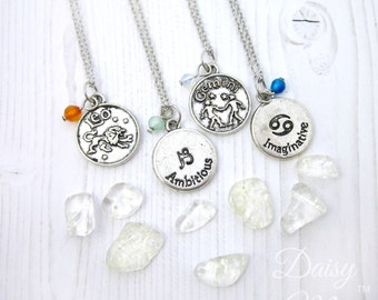 Zodiac and Authentic Gemstone Charm Necklace | Reversible Astrology Sign Charm