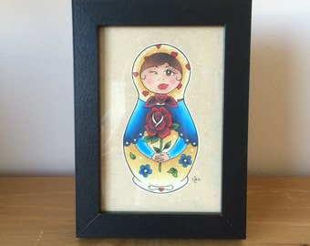 Pretty Russian Doll Black Framed Original Drawing // Original Art // Matryoshka Doll // Gift Idea // Gift for Female