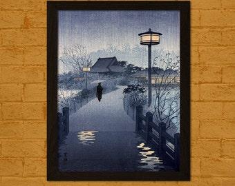 Get 1 Free Print *_* Japanese Art Print - Evening Rain Yanaka Pagoda Tokyo 1932 - Shiro Ukiyo-e Poster Wall Decor Oriental Decor Asian Art