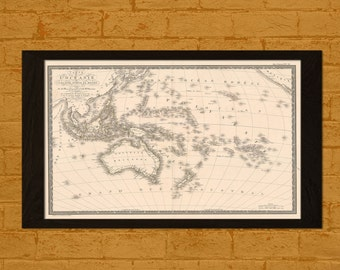 Get 1 Free Print *_* Old Australia Map 1820 - Ancient Map Australia Wall Art Antique Map Poster Home Decor Old Map Prints Pacific Ocean Map