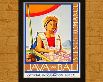 Get 1 Free Print - Bali Travel Poster 1930s - Vintage Travel Bali Poster Wall Decor Travel Wall Art Retro Travel Java Poster Bali Print Gift