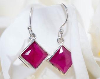 Cherry ruby drop earrings / sterling silver earrings / red gemstone earrings / square drop earrings / ruby earrings