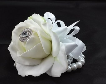 White Real Touch Rose Wrist Corsage-Wedding Corsage-Prom Corsage-Homecoming Corsage