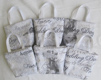 Set of 6 Wedding Fabric Gift Bags/ Wedding Favor Bags/ Wedding Goody Bags- Word Collage