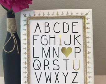 Nursery print-ABC I love you-Gold Foil Print