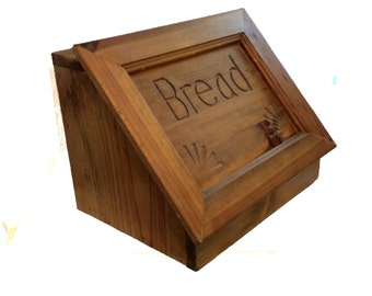 Vintage Bread Box Solid Wood Hand Made Bread Box Kitchen Storage