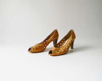 Women's Caramel Leather Heel - Size 8.5