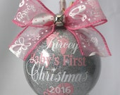 """Baby's First Christmas Ornament personalized with year and baby's name. 4"""" Acrylic or Glass ornament"""