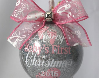 "Baby's First Christmas Ornament personalized with any year and baby's name. 4"" Acrylic or Glass made with Vinyl decals FIRST NAME ONLY"