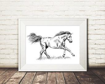 Horse Art Print, Black And White Printable, Woodland Animals, Farmhouse Decor, Country Home, Nature Art Print, Hipster Room Decor