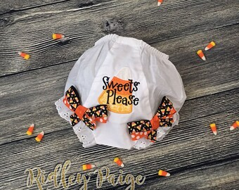Candy Corn Diaper Cover, PREMADE 3T Toddler, Sweets Please, Girl Halloween Bloomer, CUSTOM Girls Diaper Cover 3T Girl Ready to Ship