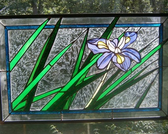 Windblown iris stained glass panel  25 x 15