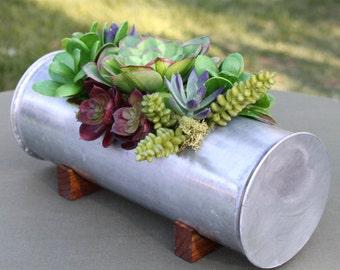 Faux Succulent Arrangement in Rustic Handmade Metal Trough Planter, Succulent Centerpiece, Rustic Wedding Centerpiece