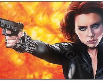 Black Widow Scarlett Johansson A4 Print from Original Oil Painting Super Hero Series