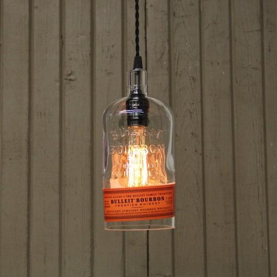 Bulleit Bottle Pendant Light - Upcycled Industrial Glass Ceiling Light - Handmade Bourbon Bottle Light Fixture, Recycled Lighting