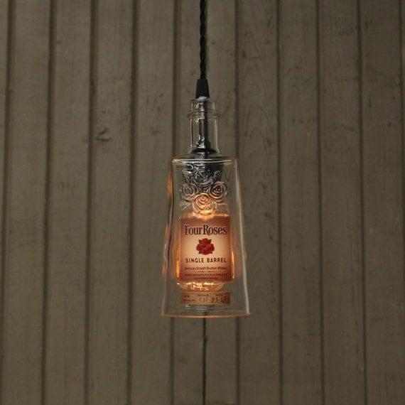 Four Roses Bottle Pendant Light - Upcycled Modern Rustic Lighting - Handmade Bourbon Bottle Light Fixture, Hang Anywhere Lighting, Bar Decor