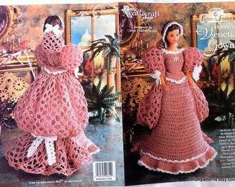 Hanna's Venetian Gown, Ladies of Fashion Thread Crochet Barbie doll dress pattern.