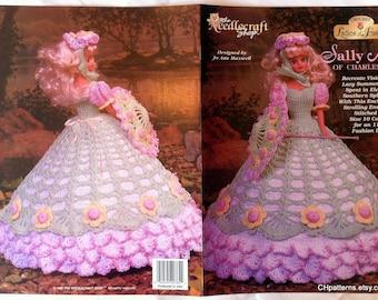 Sally Ann of Charleston, Ladies of Fashion Thread Crochet Barbie doll dress pattern.