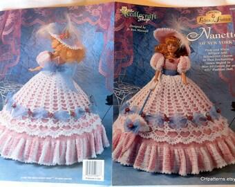 Ladies of Fashion, Nanette of New York, Thread Crochet Barbie doll dress pattern.