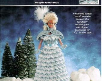 Crochet Winter Fantasy Doll Dress pattern, fits Barbie dolls. Design by Mae Meats, Annie's Attic thread crochet book 871751.