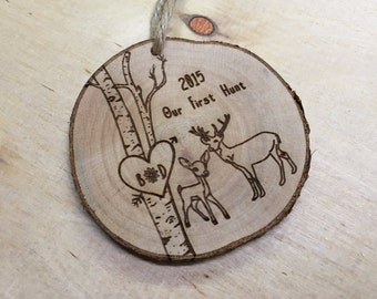 Personalized Christmas Ornaments, Christmas Ornaments, Deer Ornament, Engagement Ornament, Wedding Ornament, Christmas Ornaments Personalize