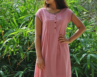 Premium Voile Rose Color Tunic / Kurti / Top with pleats on the front.