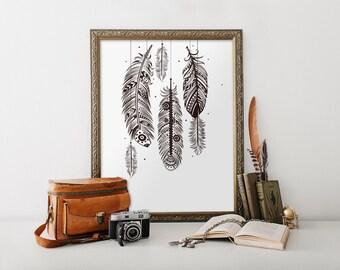 Bohemian wall art, feather wall art, bohemian decor, printable art, home decor, boho decor, feather art print, Black and White BD-494