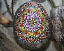 Hand Painted Stone Mandala Grinding Stone Artifact Native American Garden Stone Home Decor Housewarming Gift