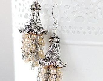 Silver Dangle Earrings - Chandelier earrings - Tassel Earrings - Dangle Earrings - Silver Wedding Earrings - Bridesmaid Earrings